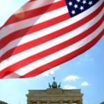 American flag at Brandenburg Gate