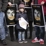 epa07424167 Fans of Michael Jackson demonstrate in front of the building of the Dutch television station NPO, against the broadcast of the documentary Leaving Neverland, in Hilversum, The Netherlands, 08 March 2019. The VPRO broadcasted the documentary that has been produced by the British filmmaker Dan Reed, in which Michael Jackson is accused of child abuse by two men, Wade Robson and James Safechuck.  EPA/Dingena Mol