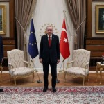 Turkish President Tayyip Erdogan meets with European Council President Charles Michel and European Commission President Ursula von der Leyen?in Ankara, Turkey April 6, 2021. Presidential Press Office/Handout via REUTERS ATTENTION EDITORS - THIS PICTURE WAS PROVIDED BY A THIRD PARTY. NO RESALES. NO ARCHIVE.